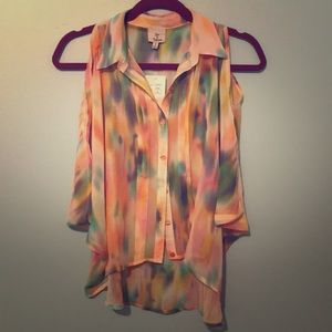 Rainbow Multi Color Button Up Cold Shoulder Blouse